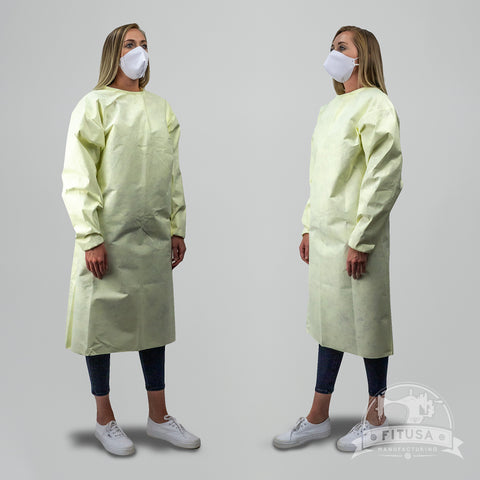 Yellow 60g Isolation Gown - Washable