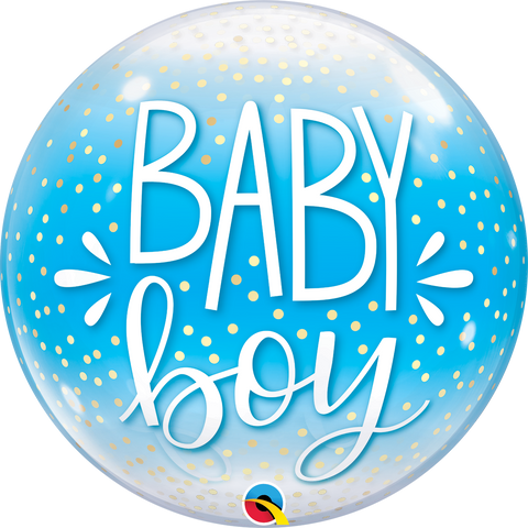 "22"" Single Bubble Baby Boy Blue & Confetti Dots #10040 - Each"