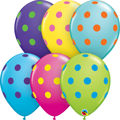 "11"" Round Special Assorted Big Polka Dots Colorful Assorted #10240 - Pack of 50"