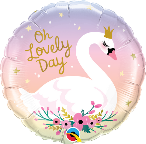 "18"" Round Foil Oh Lovely Day Swan #10371 - Each (Pkgd.)"