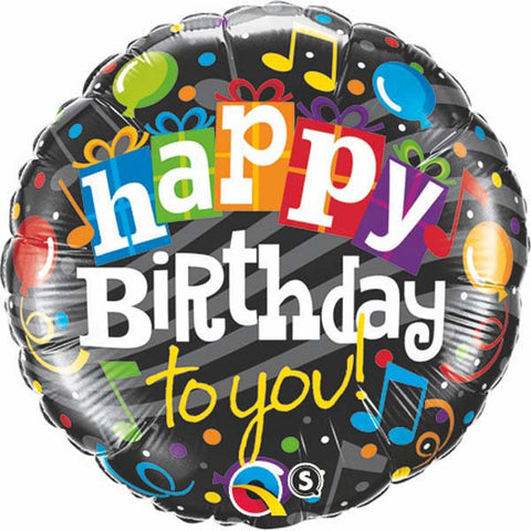 "09"" Round Foil Happy Birthday To You #58403 - Each (Unpkgd.)"