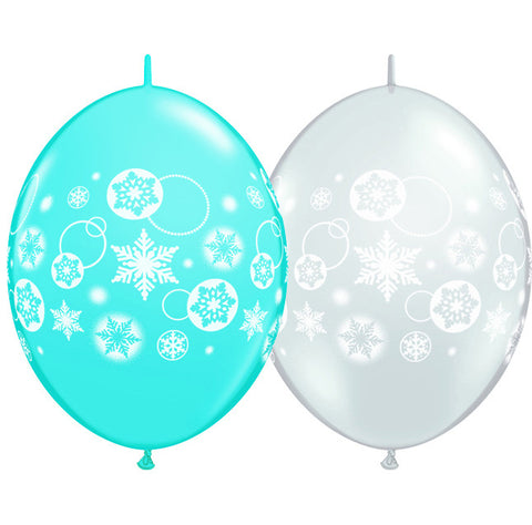 "12"" Quick Link Robins Egg & Diamond Clear Snowflakes & Circles-Column  #11417 -  Pack Of 50"