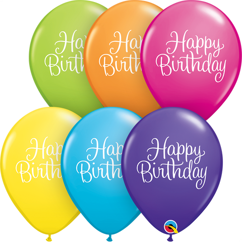 "11"" Round Tropical Assorted Birthday Classy Script #11552 - Pack of 50"