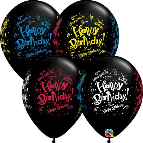 "11"" Round Onyx Black Birthday! Blast Wrap #11557 - Pack of 50"