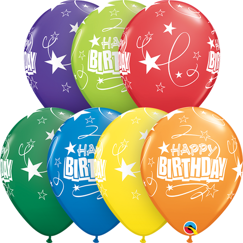 "11"" Round Carnival Assorted Birthday Loops & Stars #11728 - Pack of 50"
