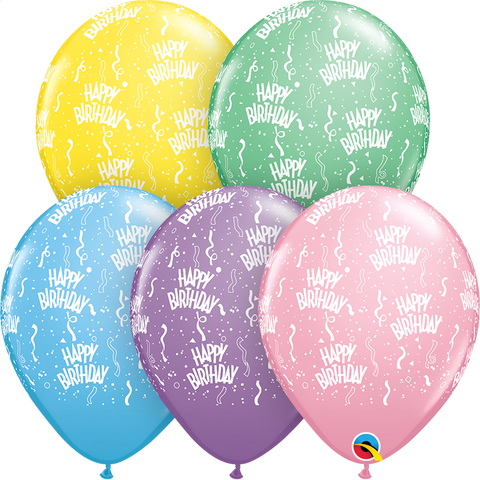"11"" Round Pastel Assorted Birthday-A-Round #11756 - Pack of 50"