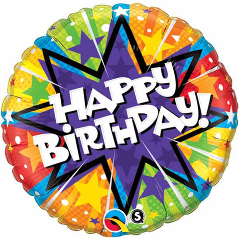 "18"" Round Foil Birthday Radiant Blassorted #11786 - Each (Pkgd.)"