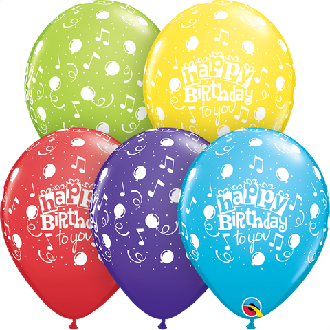 "11"" Round Special Assorted Happy Birthday To You Balloons #11853 - Pack of 50"