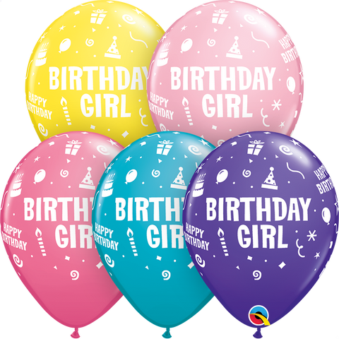 "11"" Round Special Assorted Birthday Girl #11910 - Pack of 50"