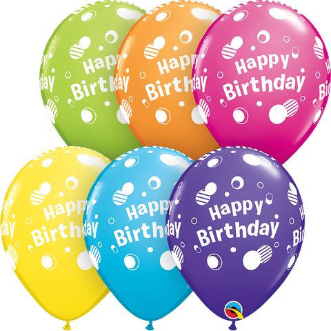 "11"" Round Tropical Assorted Happy Birthday Polka Dots #12019 - Pack of 50"
