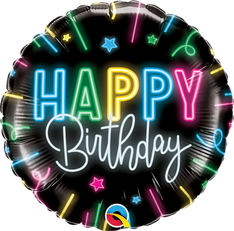 "18"" Round Foil Happy Bday Neon Glow #12276 - Each (Pkgd.)"