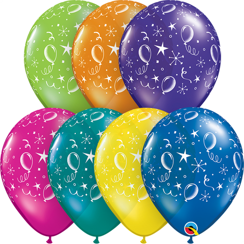"11"" Round Fantasy Assorted Party Balloons-A-Round #12580 - Pack of 50"