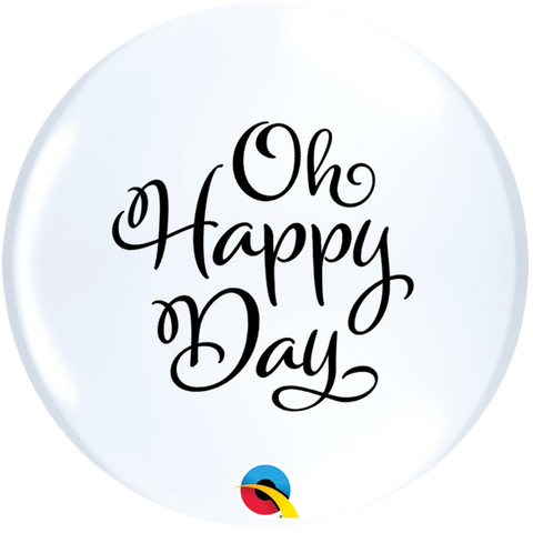 "11"" Round White Simply Oh Happy Day Topprint #12867 - Pack of 2"