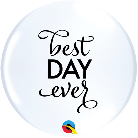 11' Round White Simply Best Day Ever Topprint #12870 - Pack of 2