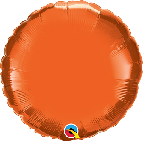 "18"" Round Orange Plain Foil #12916 - Each (Unpkgd.)"