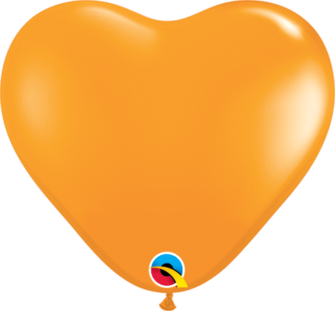 "06"" Heart Orange Qualatex Plain Latex #13764 - Pack of 100"