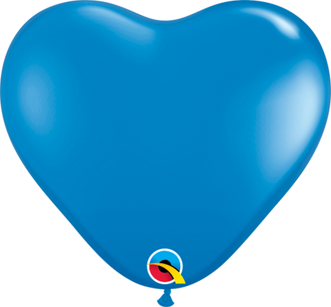 "06"" Heart Dark Blue Qualatex Plain Latex #13792 - Pack of 100"