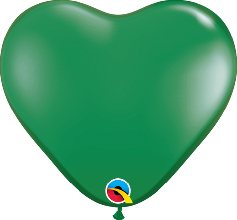 "06"" Heart Green Qualatex Plain Latex #13793 - Pack of 100"