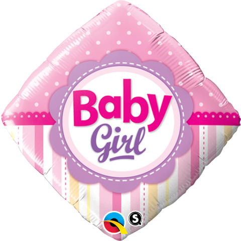 "18"" Diamond Foil Baby Girl Dots & Stripes #14400 - Each (Pkgd.)"