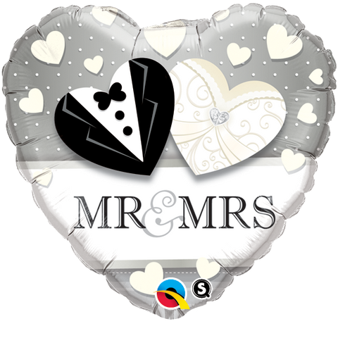"18"" Heart Foil Mr. & Mrs. Wedding #15771 - Each (Pkgd.)"