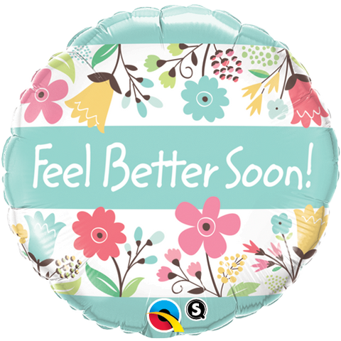 "18"" Round Foil Feel Better Soon! Floral #16983 - Each (Pkgd.)"