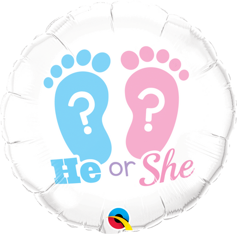 "18""  Round Foil He Or She? Footprints #17079 - Each (Pkgd.)"