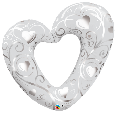 "42"" Shape Foil Hearts & Filigree Pearl White SW #16304 - Each (pkgd.)"