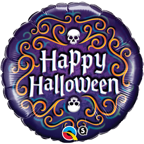 "18"" Round Foil Halloween Skeleton Filigree #18467 - Each (Pkgd.)"