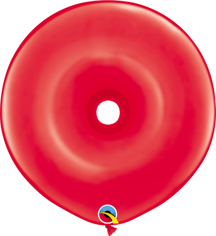 "16"" Donut Red Qualatex Plain Latex Donut #18625 - Pack of 25"