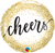 "18"" Round Foil Cheers Gold Glitter Dots #18889 - Each (Pkgd.)"