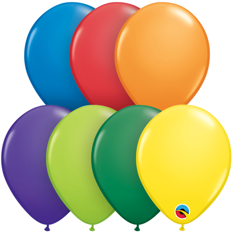 "11"" Round Carnival Assorted Qualatex Plain Latex #20915 - Pack of 100"