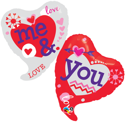 "42"" Shape Foil You & Me Two Hearts SW #21844 - Each (pkgd.)"