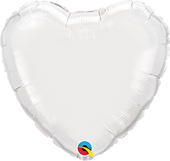 "36"" Heart Foil White Foil #12668- Each (Unpkgd.)"