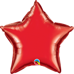 "36"" Star Ruby Red Plain Foil #12605 - Each (Unpkgd.)"