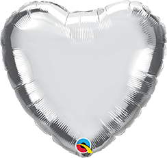 "18"" Heart Foil Silver Plain #23138 - Each (Unpkgd.)"