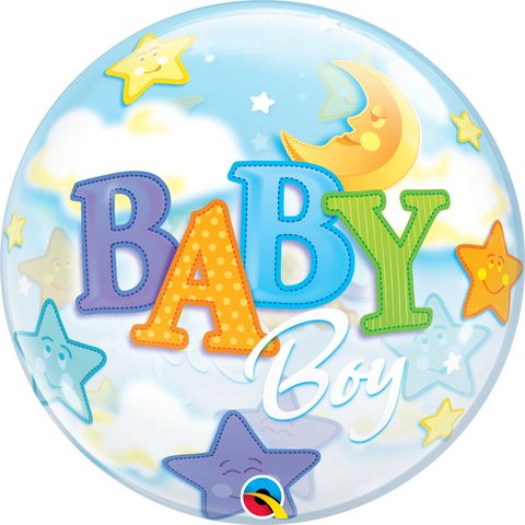 "22"" Single Bubble Baby Boy Moon & Stars #23597 - Each"