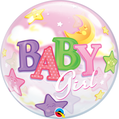 "22"" Single Bubble Baby Girl Moon & Stars #23598 - Each"