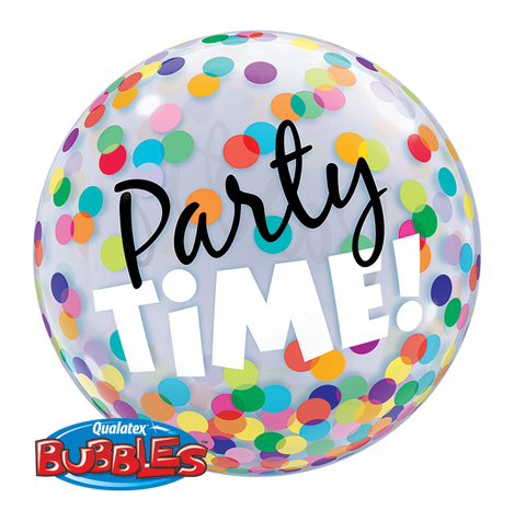 "22"" Single Bubble Party Time! Colourful Dots #23636 - Each"