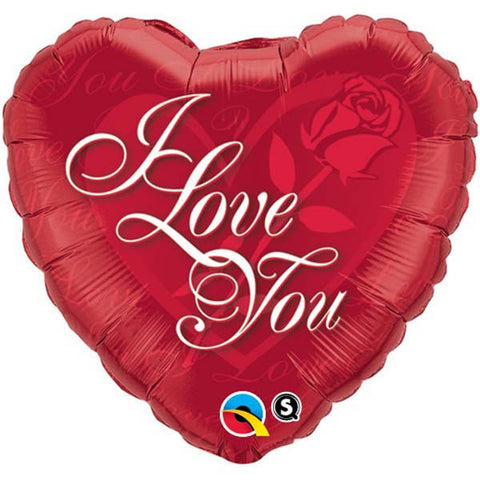 "18"" Heart Foil I Love You Red Rose #24489 - Each (Pkgd.)"