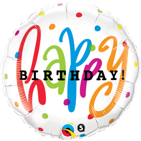 "09"" Round Foil Happy Bday Dots #58435 - Each (Unpkgd.)"