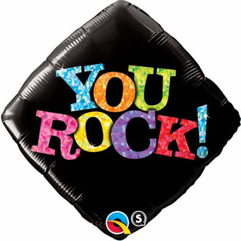 "18"" Diamond Foil You Rock! Black #25311 - Each (Pkgd.)"