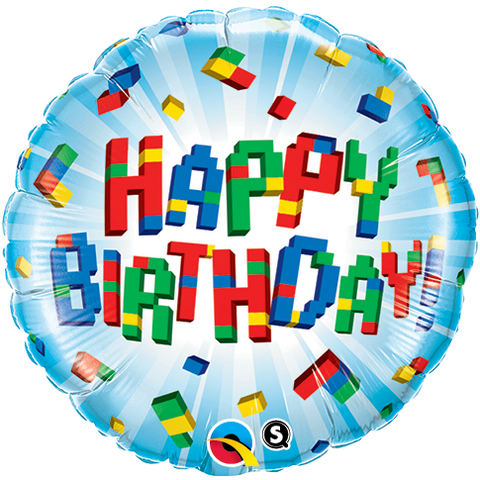 "18"" Round Foil Bday Exploding Blocks #25541 - Each (Pkgd.)"