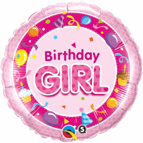 "18"" Round Foil Birthday Girl Pink #26273 - Each (Pkgd.)"