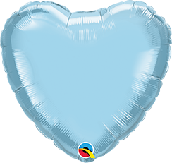 "09"" Heart Foil Pearl Light Blue Plain Foil #54584 - Each (Unpkgd.)"