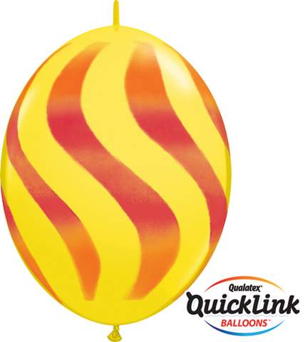 "12"" Quick Link Yellow Wavy Stripes/ORG & RED #28096 - Pack Of 50"