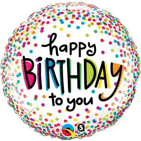 "18"" Round Foil Bday Sprinkled Dots #28126 - Each (Pkgd.)"