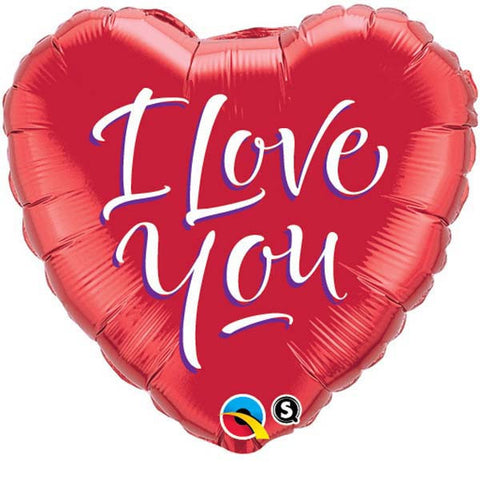 "18"" Heart Foil I Love You Script Modern #29133 - Each (Pkgd.)"