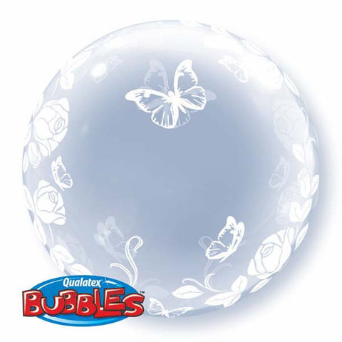 "24"" Deco Bubble Elegant Roses & Butterflies #29718 - Each"