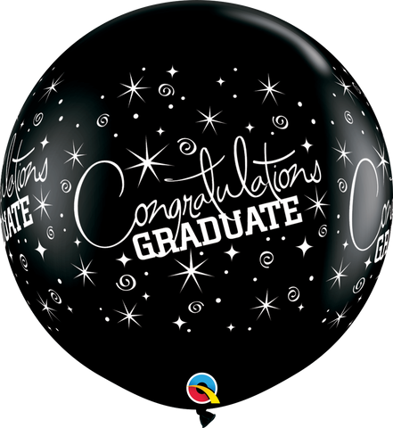 3ft Round Onyx Black Congratulations Graduate Wrap #29947 - Pack of 2