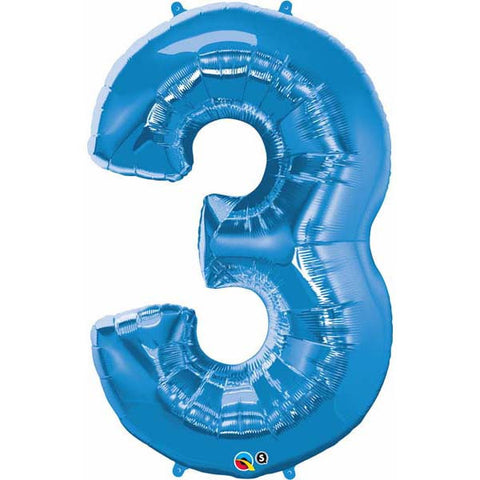 "44"" Number Foil Number Three Sapphire Blue #30523 - Each (Pkgd.)"